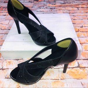 Fioni Night Women's Black Strappy Stiletto Heels